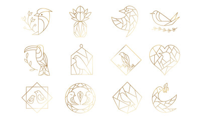 Set of Geometric Birds in Vector