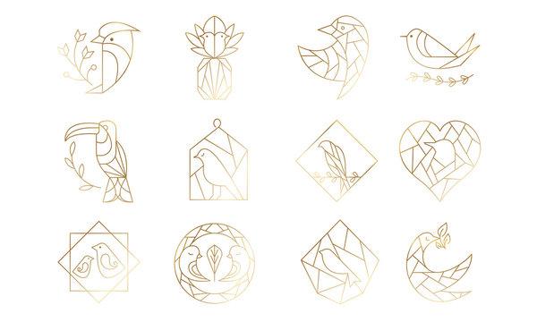 Set of Geometric Birds in Vector
