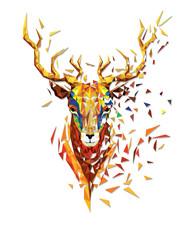 Deer head lowpolygon geometric pattern vector eps10