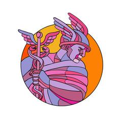 Hermes Messenger of the Gods Mosaic Color