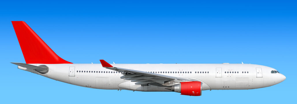 Large heavy modern wide body passenger twin jet engine airplane flying side panoramic detailed close up exterior view reference isolated on blue sky background air travel transportation red theme