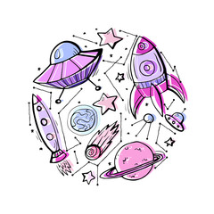 Set of contour colorful child illustrations of stars, spaceships and UFOs. Vector elements for cards, stickers and your creativity