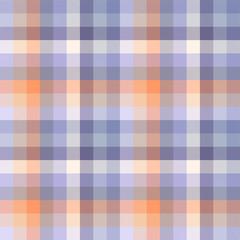 Madras plaid pattern in shades of blue, purple, orange and cream. Seamless fabric texture.