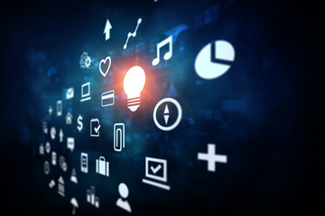 Innovative technology background. Mixed media