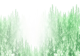 Watercolor group of trees - fir, pine, cedar, fir-tree. green forest, landscape, forest landscape. Drawing on white isolated background. Ecological poster. Misty forest in haze