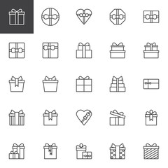 Gift boxes outline icons set. linear style symbols collection, line signs pack. vector graphics. Set includes icons as heart gift box, christmas present box with bow and ribbon, birthday greeting box