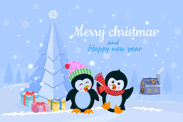 Christmas winter holidays background with cute cartoon penguins