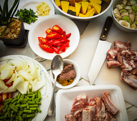 Curry, Pork Ribs and Vegetable, Ingredients for Pork rib curry