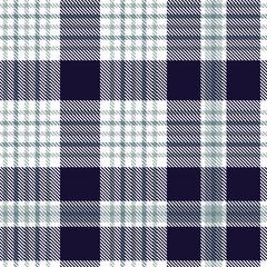 Nautical plaid pattern in dark indigo, greenish blue and white. Seamless fabric texture.