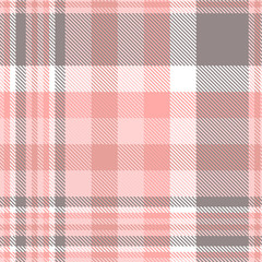 Plaid pattern in pink, gray and white. Seamless fabric texture.