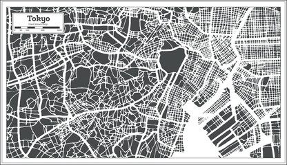 Tokyo Japan City Map in Retro Style. Outline Map.