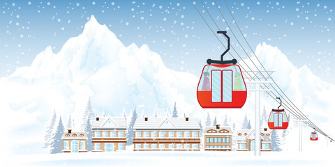 Ski resort with cable cars or aerial lift against mountains and house in the snowy forest.