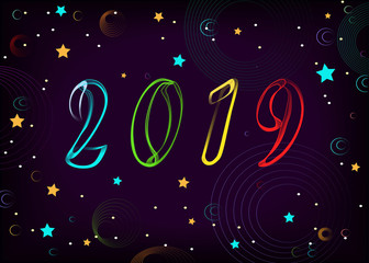 New Year 2019. Space, stars, planets