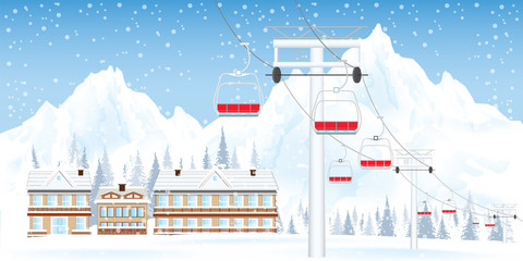 Winter ski resort with ski-lift moving above the ground against winter landscape with mountains and house.