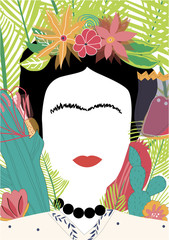 Portrait of Mexican or Spanish woman minimalist Frida Kahlo with flowers, leaves, cactus