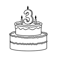 delicious cake with candle number three
