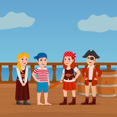 Pirates Kids on Deck of a Ship With Sea Background Cute Vector Cartoon Illustration