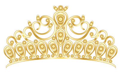 Gold tiara crown women's wedding with stones drawing vector eps 10