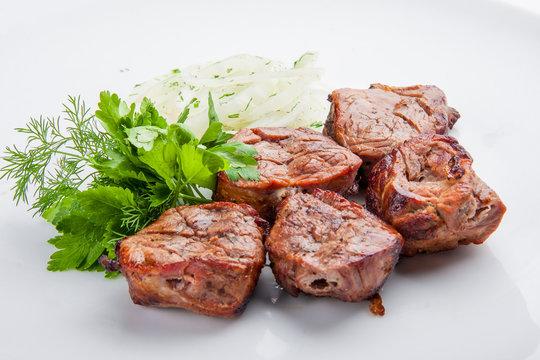 Shish kebab from pork tenderloin with onion