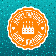 Happy Birthday Label Design and blue confetti background. Eps10 Vector.