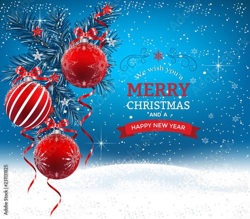 Christmas In Australia Background.Blue Christmas Background With Fir Branches Christmas Balls