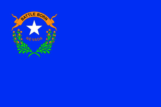 Vector flag of Nevada state. Las Vegas, Reno. United States of America.