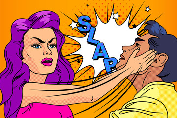 Slap, the relationship of men and women. Pop-art