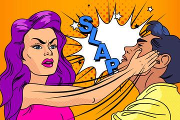 Slap, the relationship of men and women. Pop-art