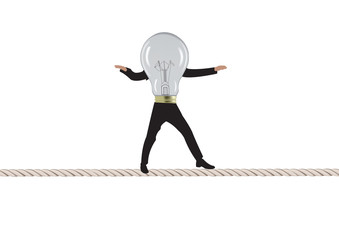 lampadina con gambe in equilibrio su corda tesa