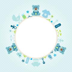 Blue Teddy Baby Symbols Boy Frame Blue