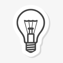 Light bulb sticker in white background
