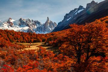 Beautiful autumn view of Cerro Torre mountain. Patagonia, Argentina