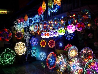 Colorful Christmas lanterns on display at a store