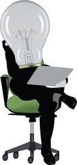 lampadina con gambe seduta a studiare
