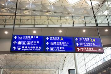 General and information board inside of Chek Lap Kok Airport in Hong Kong, China