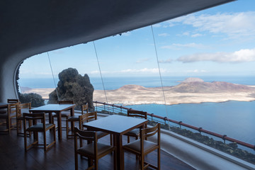 Cafe inside Mirador del Río panoramic point, Canary island, Lanzarote