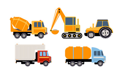 Cargo, construction and specialized machinery for transportation, concrete mixer truck, excavator, tractor, tank, refrigerator truck vector Illustration on a white background
