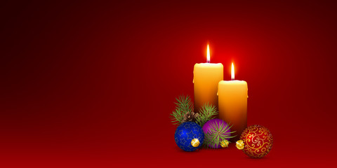 Christmas Card Template with Two Vector Candles and Red Background