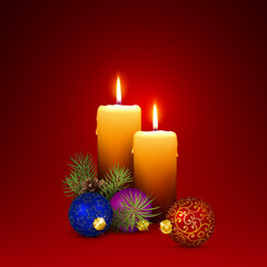 Vector Candlelights - Blank Christmas Greeting Card Template with Two Candles