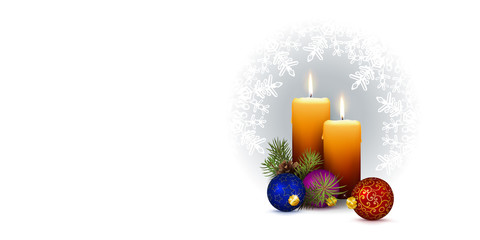 Panorama Vector with Two Candles and Snowflakes on White Background.