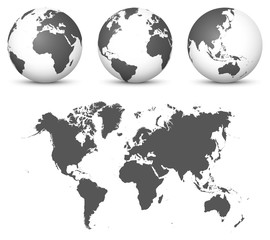 Gray 3D Globe - Earth Vector Set with Undistorted 2D World Map in Gray Color.