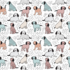 Childish seamless pattern with dogs. Cute baby design.