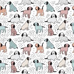 Modèle sans couture enfantin avec des chiens. Conception de bébé mignon.