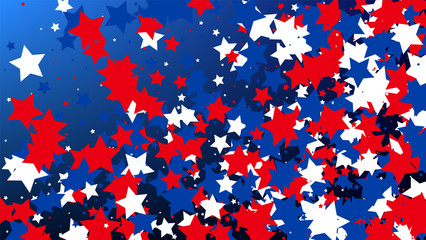 Colors of American Flag. USA Independence Day. . Invitation Background. Banner, Christmas and New Year card, Postcard, Packaging, Textile Print.