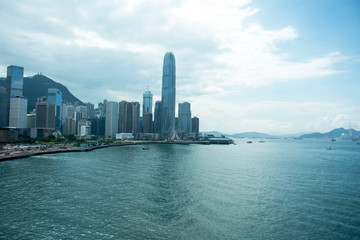 View landscape and cityscape of Hong Kong and Kowloon island at Victoria Harbour