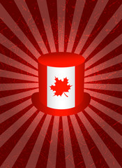 Background with symbols of Canada. Top Hat. Symbolic flag of Canada with maple leaf. Red background with center rays, grunge texture..