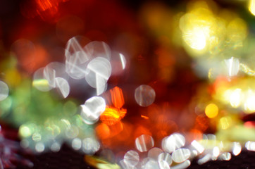 Joyful, abstract background with colored bokeh circles