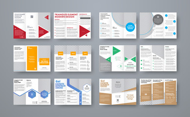 Set of vector trifold brochures with different geometric elements and space for photo.