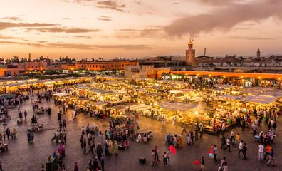 Canvas Prints Morocco Place Djema El Fna Marrakech Maroc au coucher du soleil