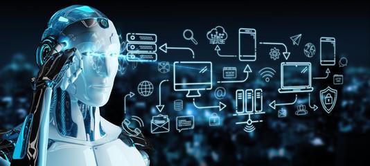 Fototapeta White humanoid controlling modern devices interface system obraz